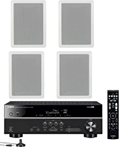 Yamaha 5.1-Channel Wireless Bluetooth 4K A/V Home Theater Receiver + Yamaha High-Performance Natural Sound 3-Way in-Wall Front/Center Speaker System (Set of 4)