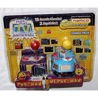 Namco Jakks Plug & Play TV Games Classics Combo Pack: Pac-Man & Ms. Pac-Man, 10 Arcade Classics: Toys & Games