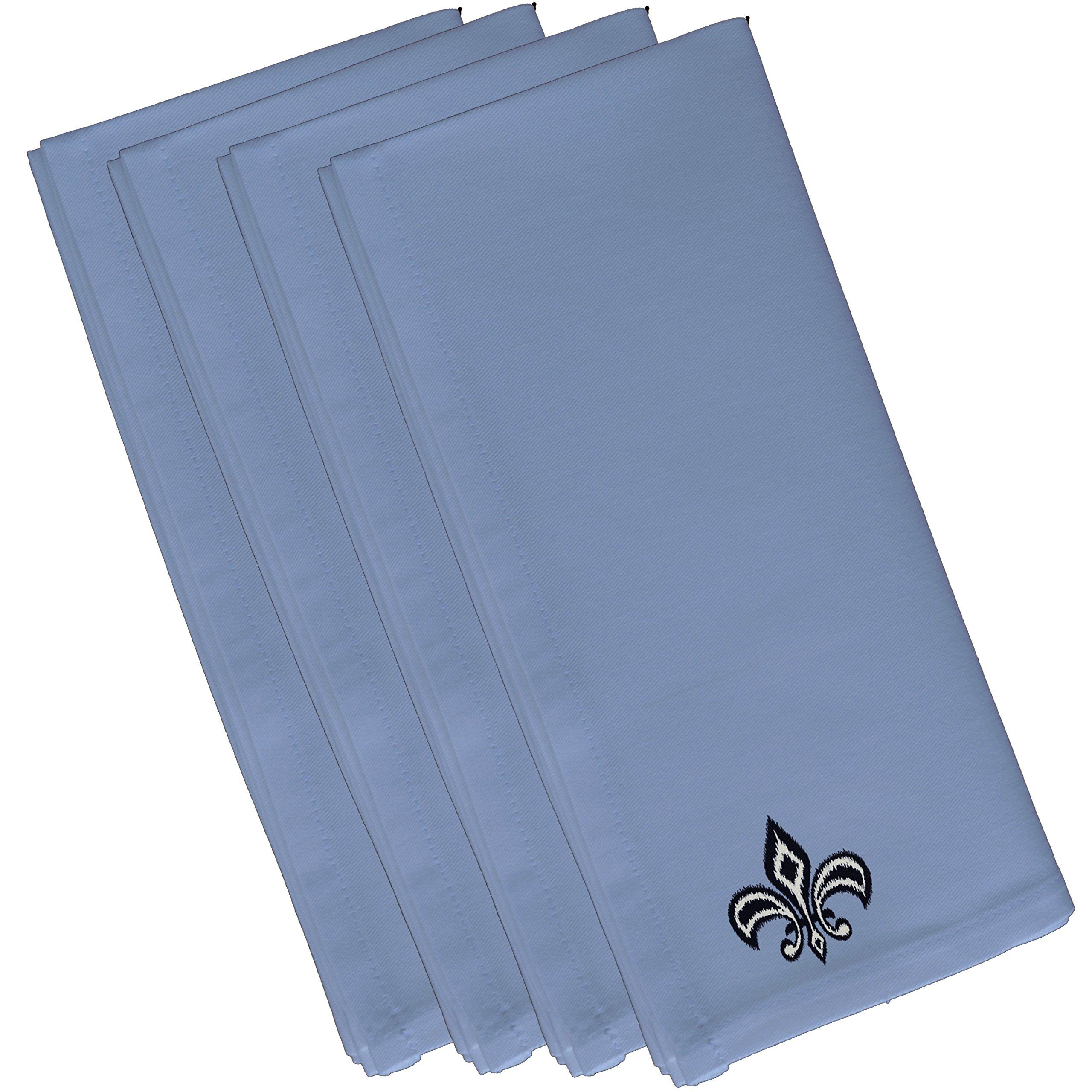 E By Design N4FN355BL17BL14-19 Fleur de Lis Ikat Print Napkin, 19'' x 19'', Blue