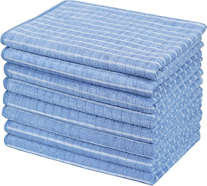 Gryeer 8er Set Bambus Und Microfaser Geschirrtücher Super Weiche Saugfähige Küchentücher 45 X 65cm Blau