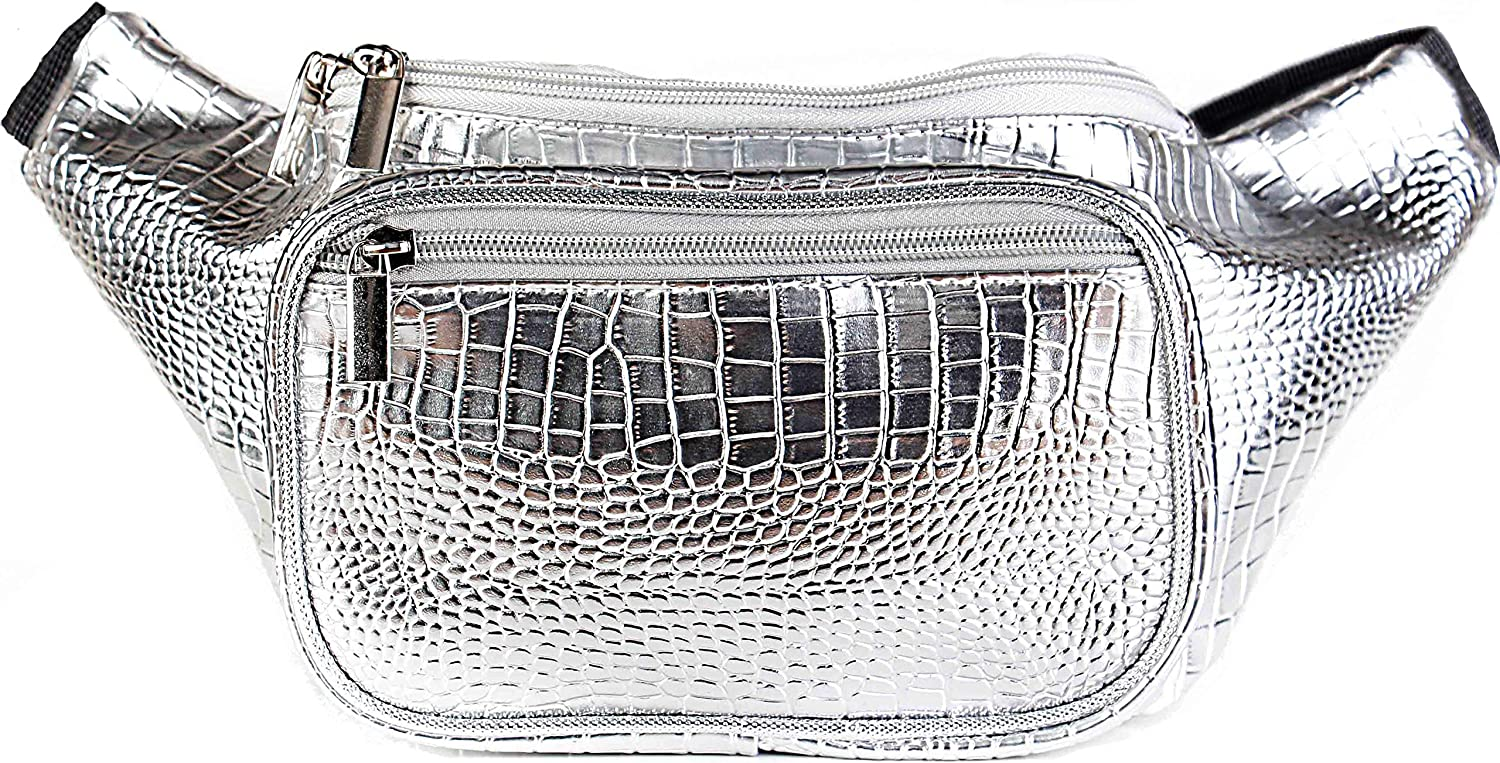 SoJourner Holographic Rave Fanny Pack - Packs for festival women, men | Cute Fashion Waist Bag Belt Bags (Silver Gator)
