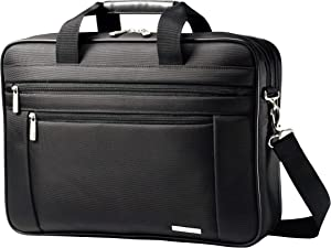"Samsonite Classic Business Perfect Fit Two Gusset Laptop Bag - 15.6"" Black"