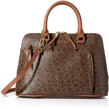 929f5db9a Calvin Klein Women's Faux Leather Hudson Monogram Front Half Zip Pocket Dome  Satchel (Brown/Khaki): Amazon.in: Clothing & Accessories
