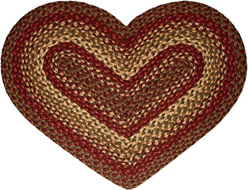 IHF Home Decor Heart Shaped Braided Rug 20 x 30 Cinnamon Design Wine, Gold, Sage Hand Woven Collection Natural Jute Fiber