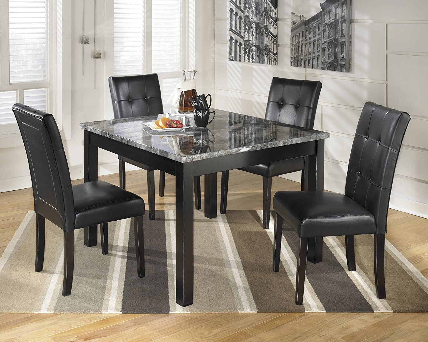 Square Table For 4 Part - 25: Amazon.com - Ashley D154-225 Maysville Black Square Dining Room Table Set -  Table U0026 Chair Sets