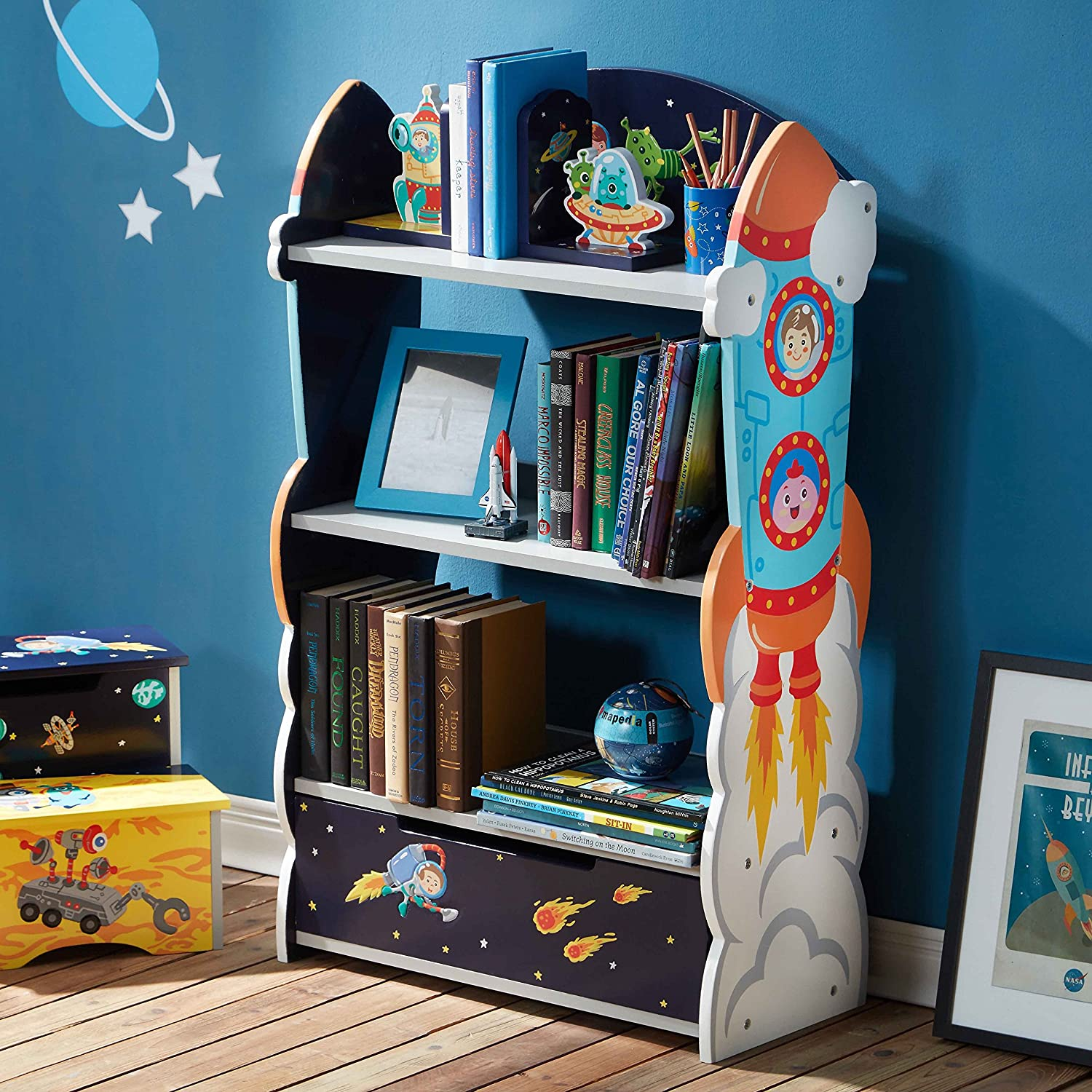 Amazon Fantasy Fields Outer Space Thematic Kids Wooden Bookcase With Storage Toys Games