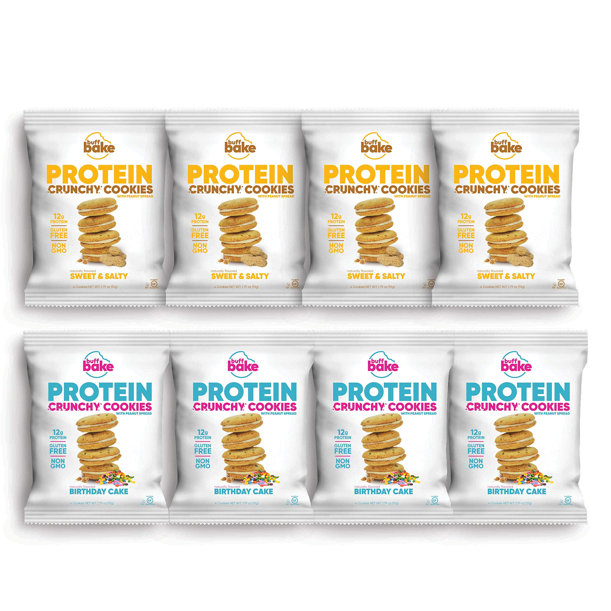 Buff Bake Protein Sandwich Cookie | New Variety Pack | Crunchy | Gluten Free | Non-GMO Ingredients | 12 Grams of Hormone-Free Whey Protein | (8 Count, 1.79 Ounces)