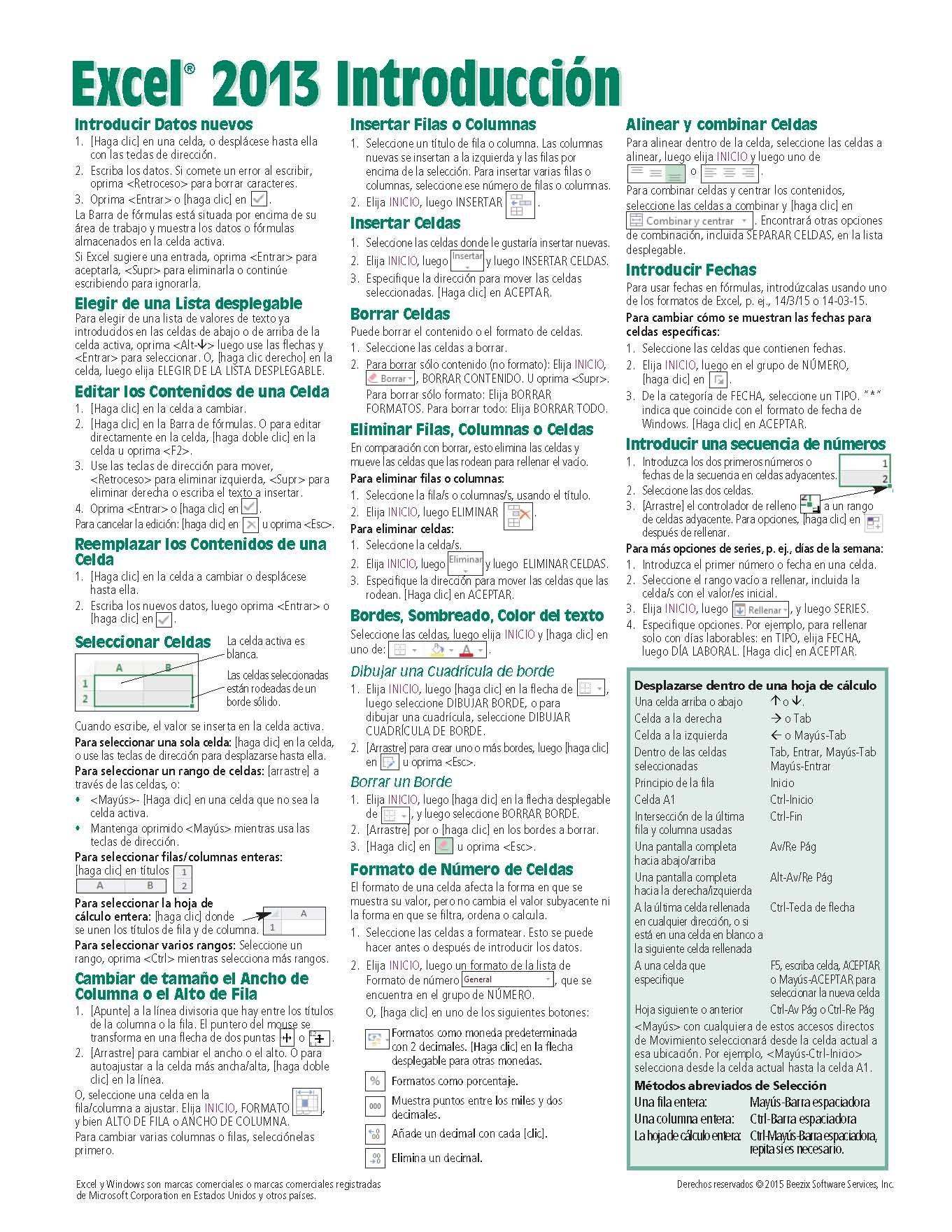 Microsoft Excel 2013 Introducción Guía de referencia rápida (Hoja de ...