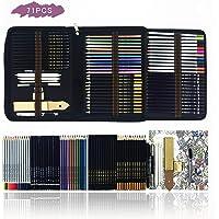 Zzone Crayons de couleur Dessin et Croquis Kit ,71pcs Set de dessin pour enfants Outils pour Dessiner.Inclus colorées, aquarelle, dessin, Charbon de bois et métallique pour livres de coloriage