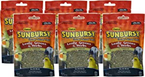 Higgins 6 Pack of Sunburst Leafy Greens & Herbs Gourmet Treats for All Birds, 1 Ounce Per Pack