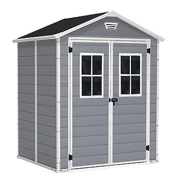 KETER/Chalet-Jardin 12-929562 Premium 65 Abri Double Porte avec Fenêtres  Résine Gris 185 x 152 x 226 cm