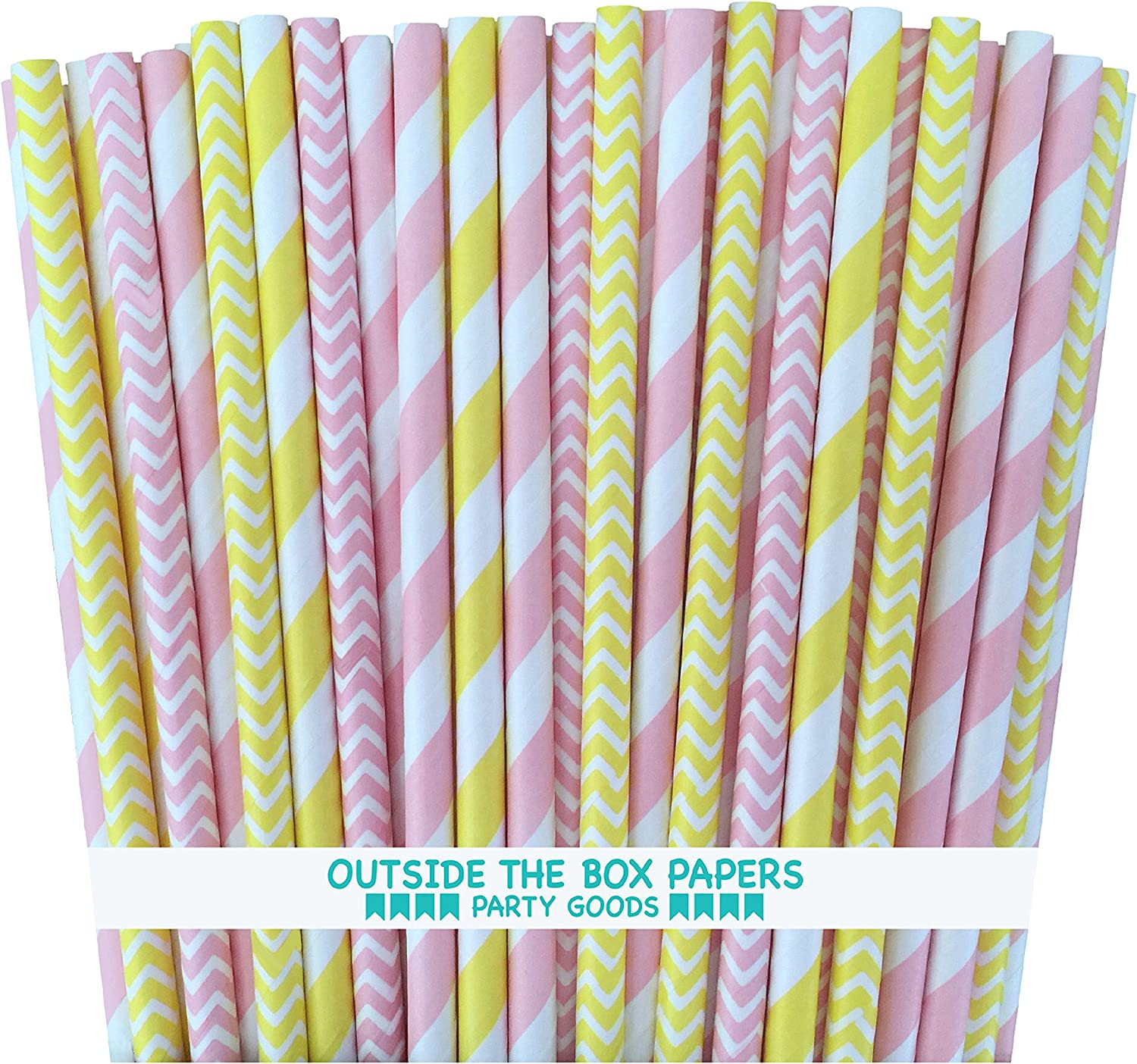 Outside the Box Papers Pink and Yellow Dot Chevron Paper Straws 7.75 Inches 100 Pack Pink, Yellow, White