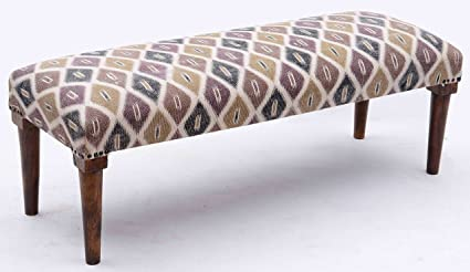 Kokou0027s House Boho Upholstered Bench Ottoman   Marrakech Twilight, Plum Gold  Black Rust Ikat Pattern