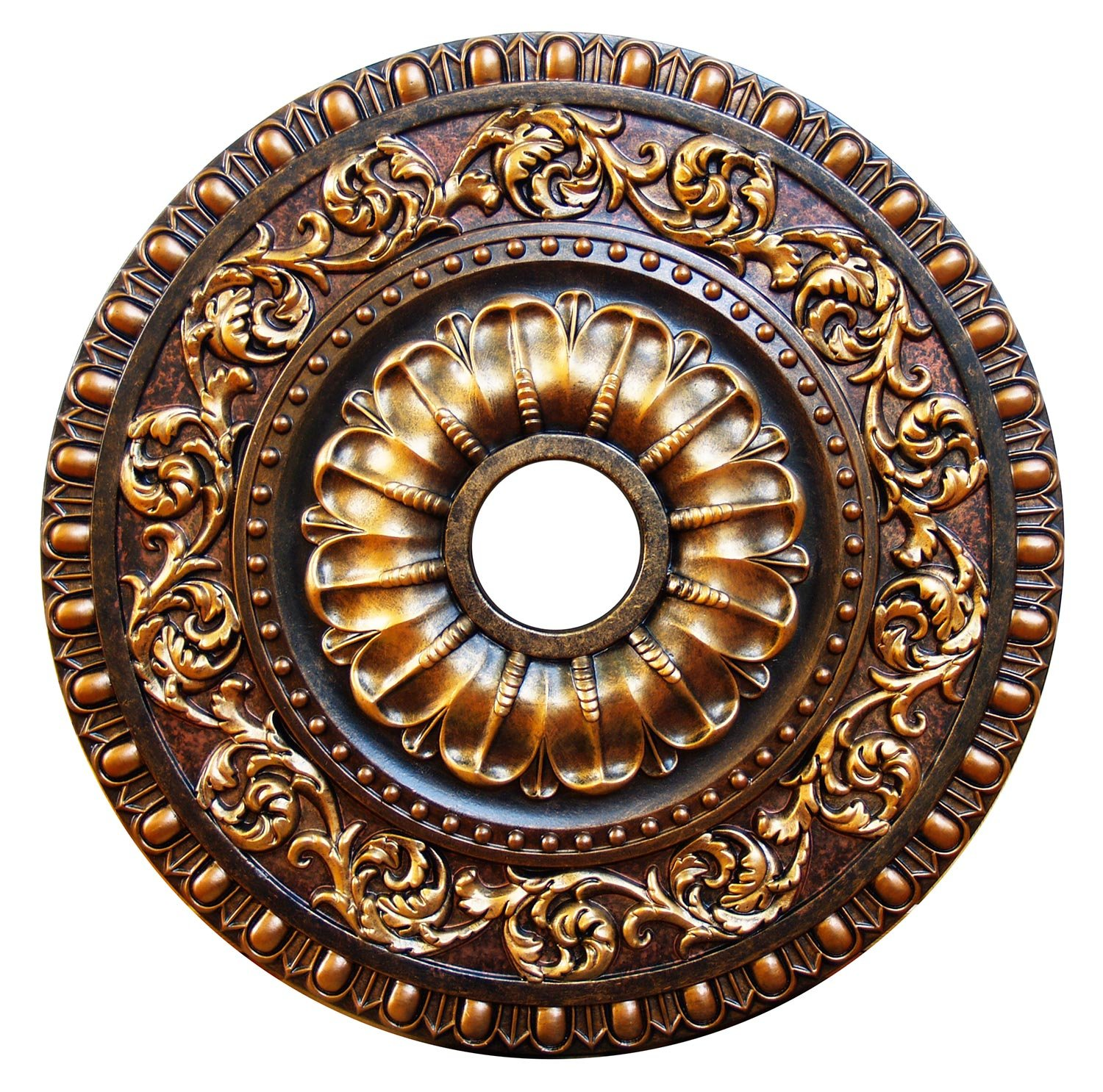 Fine Art Deco ''Autumn Foliage'' Hand Painted Ceiling Medallion 23-5/8 In. Finished in Antique Bronze, Olympic Gold and Antique Copper