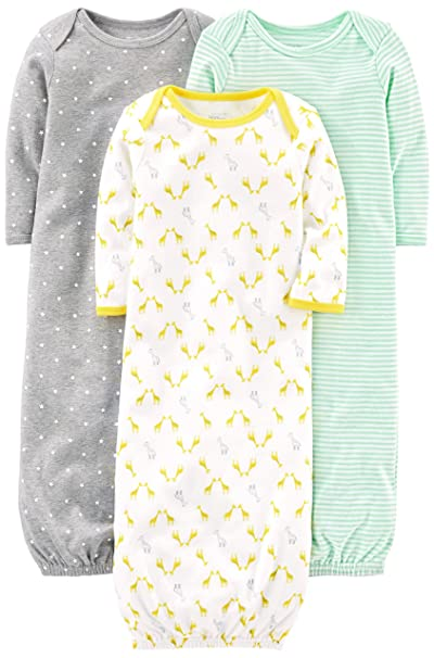 fa59ef2733c3 Amazon.com  Simple Joys by Carter s Baby 3-Pack Cotton Sleeper Gown ...