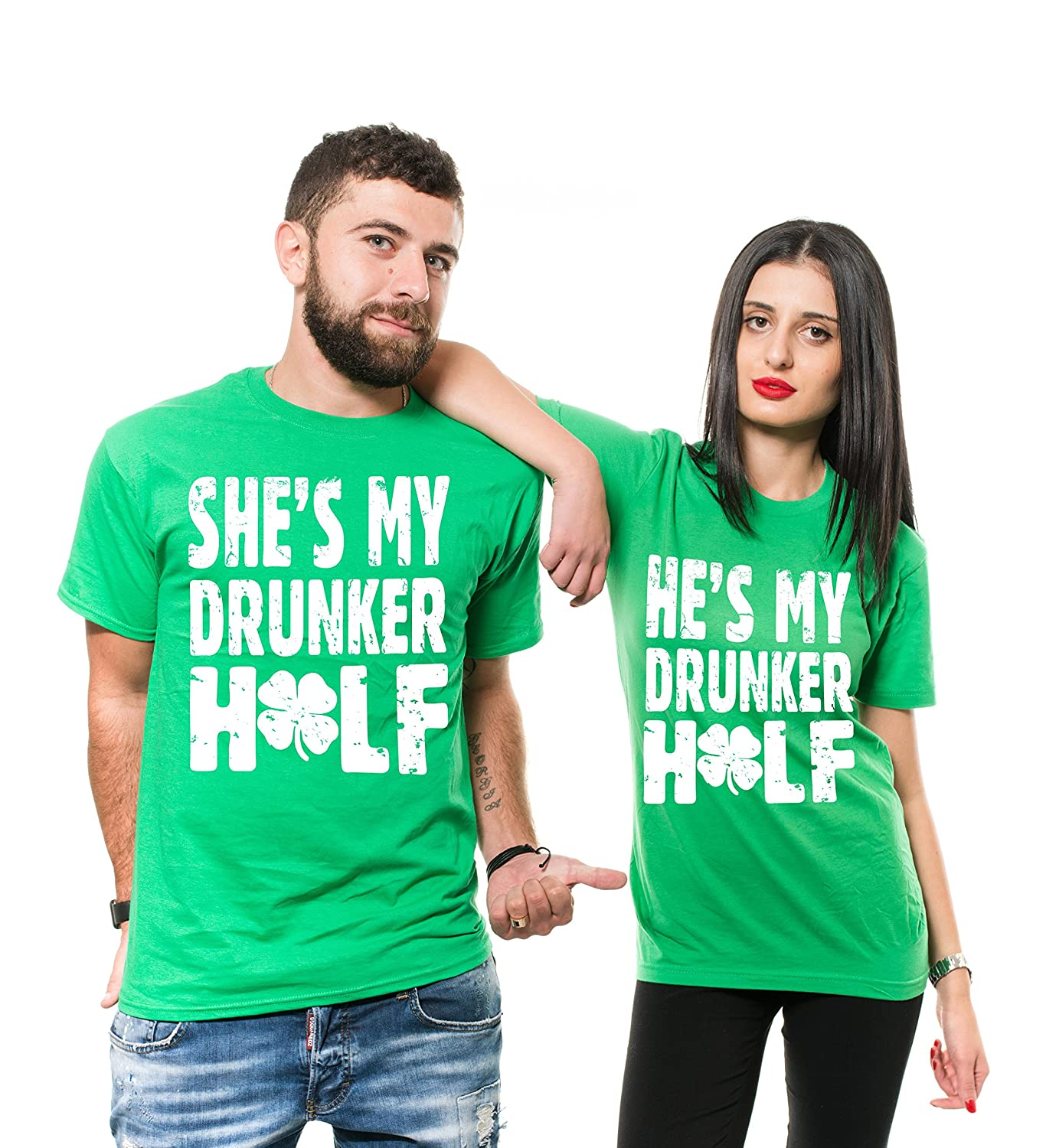 9816aa84b Amazon.com: ST Patrick's Day Green Couple Matching Shirts Funny Irish Green  Couple Shirts Unisex Tees Husband Wife Funny T Shirt: Clothing