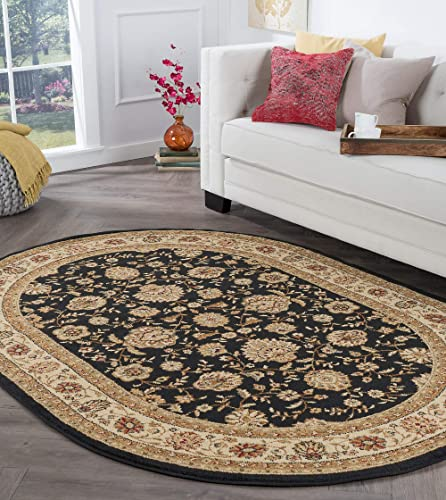 Tayse Raleigh Black 7×10 Oval Area Rug