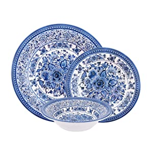 First Design Global DNS0219 Decorative Antique Floral 12 Piece Melamine Dinnerware, Unique Dish Set for Parties or Everyday Use, Service for 4