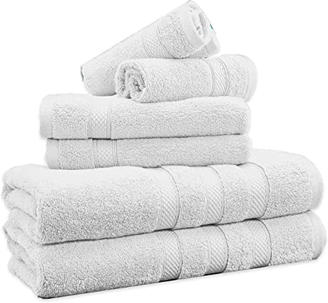 SPA Gray Hotel Collection 100/% Cotton Bath Towels Soft 600 GSM 6 Pack Set
