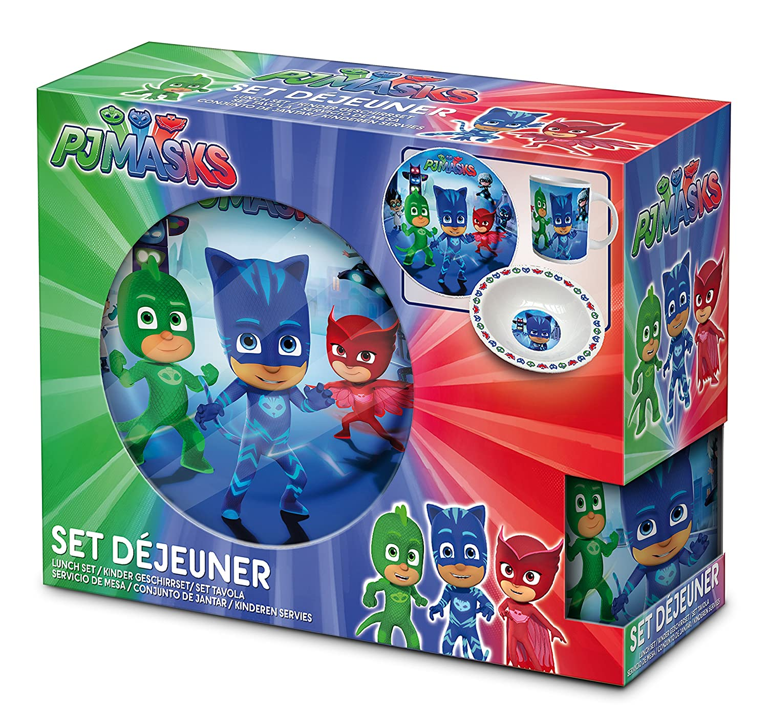 Official PJ Mask 3 pc Dinner Breakfast Set Christmas Gift for Kids: Amazon.es: Hogar