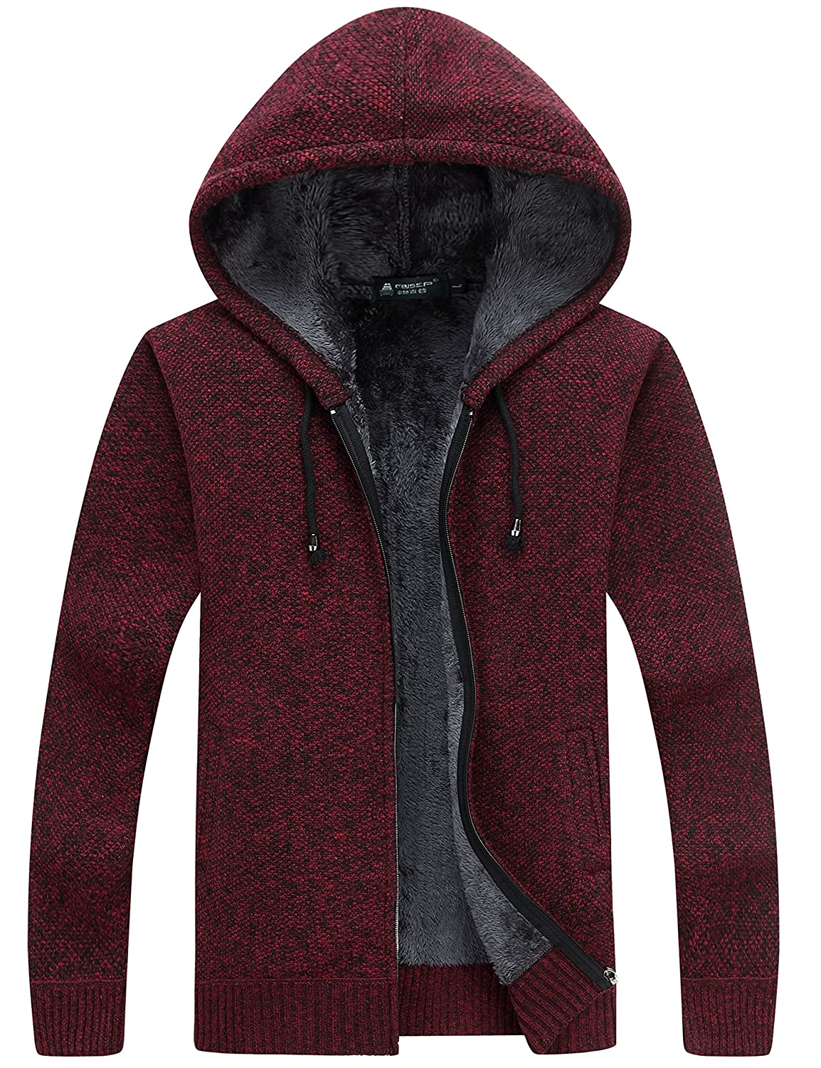 Yeokou Men's Thick Sherpa Lined Full Zip Hooded Cardigan Sweaters with Pockets