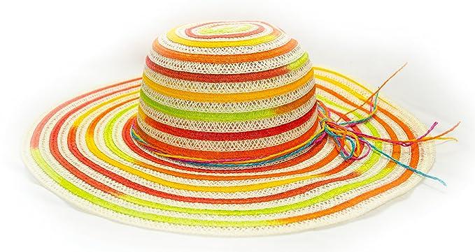 49331d87af Floppy Brim Rainbow Sun Hat Braided Straw Beach Resort Colorful ...