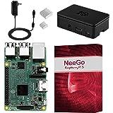 NeeGo Raspberry Pi 3 Kit Pi 3 Model B Barebones Computer Motherboard with 64bit Quad Core CPU & 1GB RAM, Black Pi3 Case, 2.5A Power Supply & Heatsink 2-Pack