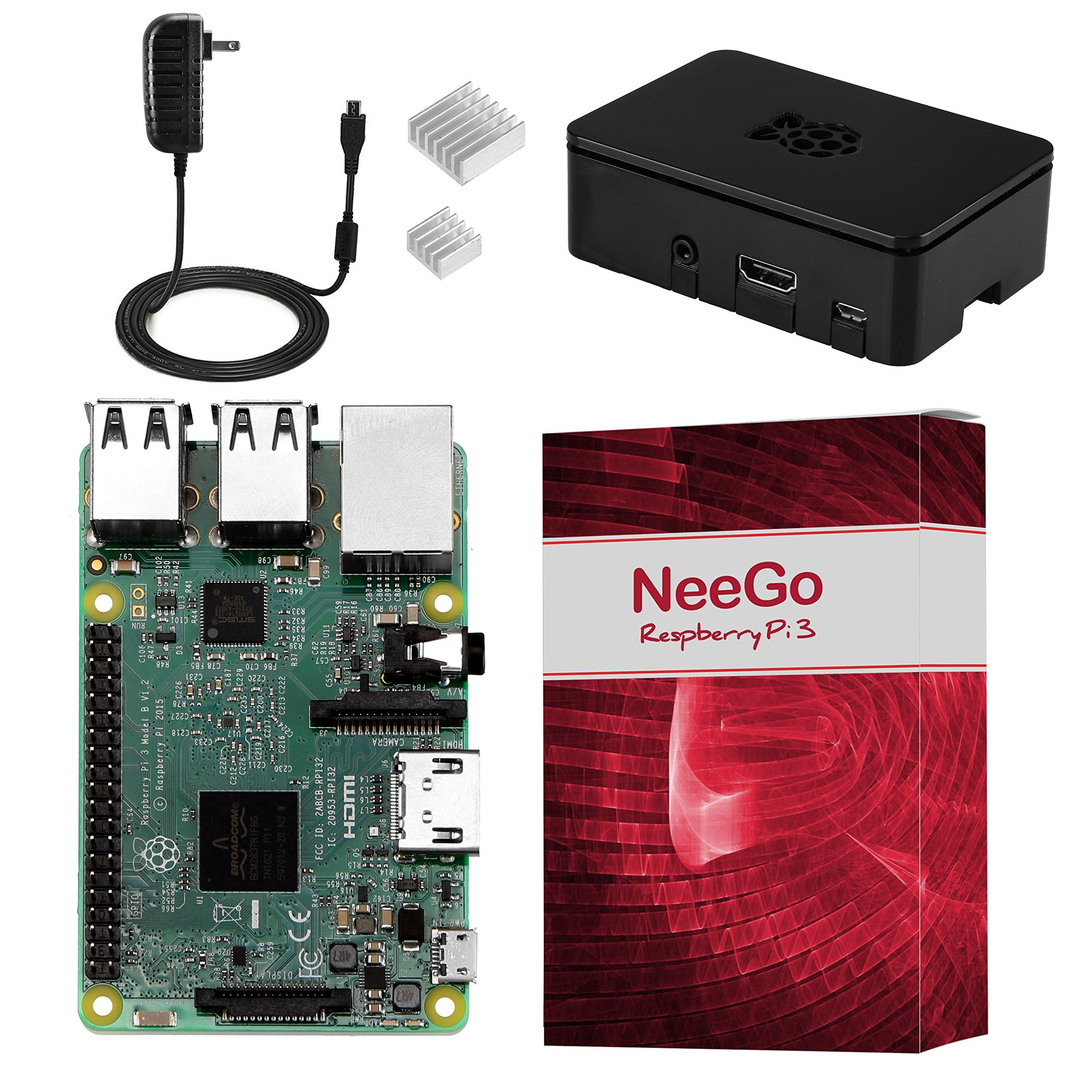 NeeGo Raspberry Pi 3 Kit Pi 3 Model B Barebones Computer Motherboard with 64bit Quad Core CPU & 1GB RAM, Black Pi3 Case, 2.5A Power Supply & Heatsink 2-Pack by NeeGo (Image #1)