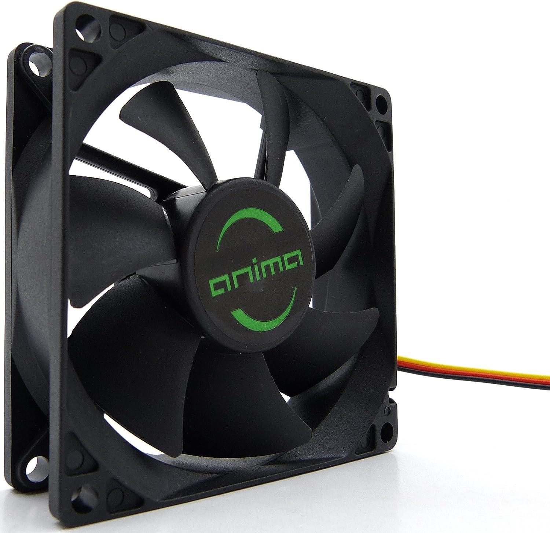 Anima AF8 - Ventilador para ordenador (1800 rpm, 0.12 A, 1.44 W, ecológico y silencioso, 50.000 horas de funcionamiento, 8 cm, 7 aspas), color negro: Amazon.es ...