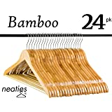 Natural Bamboo Wood Hangers w/Notches and Non-Slip Bar for Eco-Friendly Closet, Bamboo Hangers, VALUE set of 24