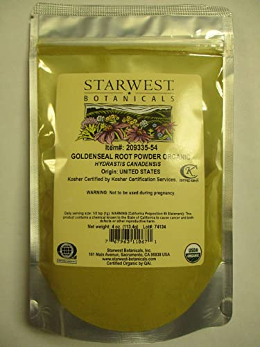 Starwest Botanicals Organic Goldenseal Root Powder, 4 Ounces