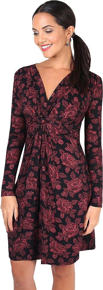 TALLA 38. KRISP Chaqueta Mujer Fiesta Punto Encaje Blazer Elegante Cardigan Burdeos (5285) 38