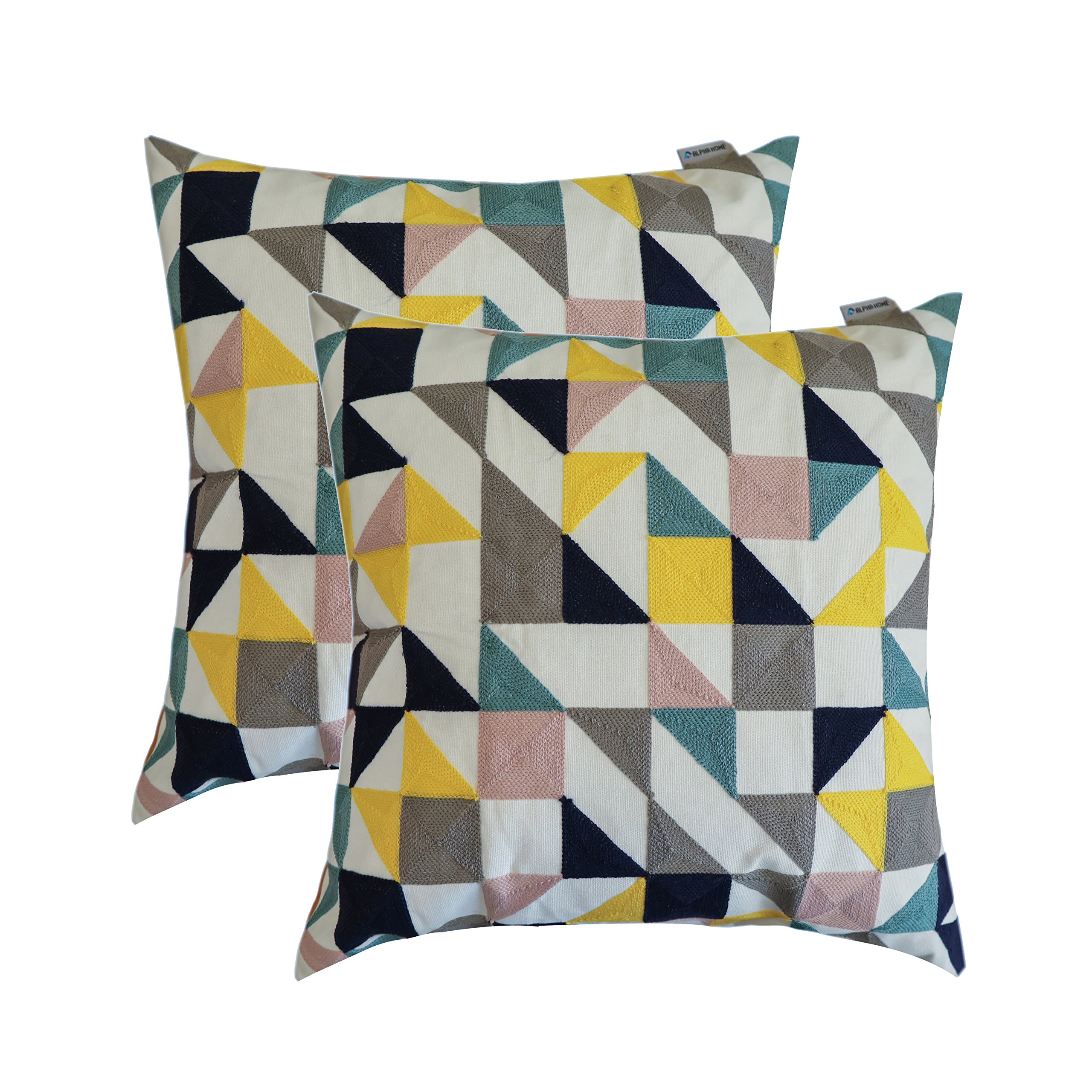 ALPHA HOME Embroidered Throw Pillow Covers Decorative Cushion Covers 18 x 18 inch, Set of 2, Geometric