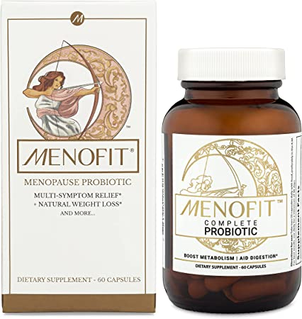 MenoFit - Menopause Supplements for Women - Natural Menopause + Perimenopause Relief for Hot Flashes, Weight Management, Low Energy, Mood, Hormone Support - 60 Herbal Capsules with Patented Probiotics