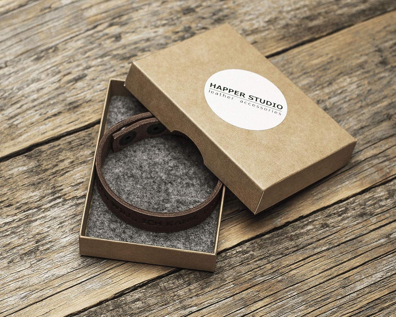 Brown bracelet Italian leather engraved inspirational phrase: ICH WILL vegetable tanned ICH KANN ICH WERDE medium size for wrist 165-180mm