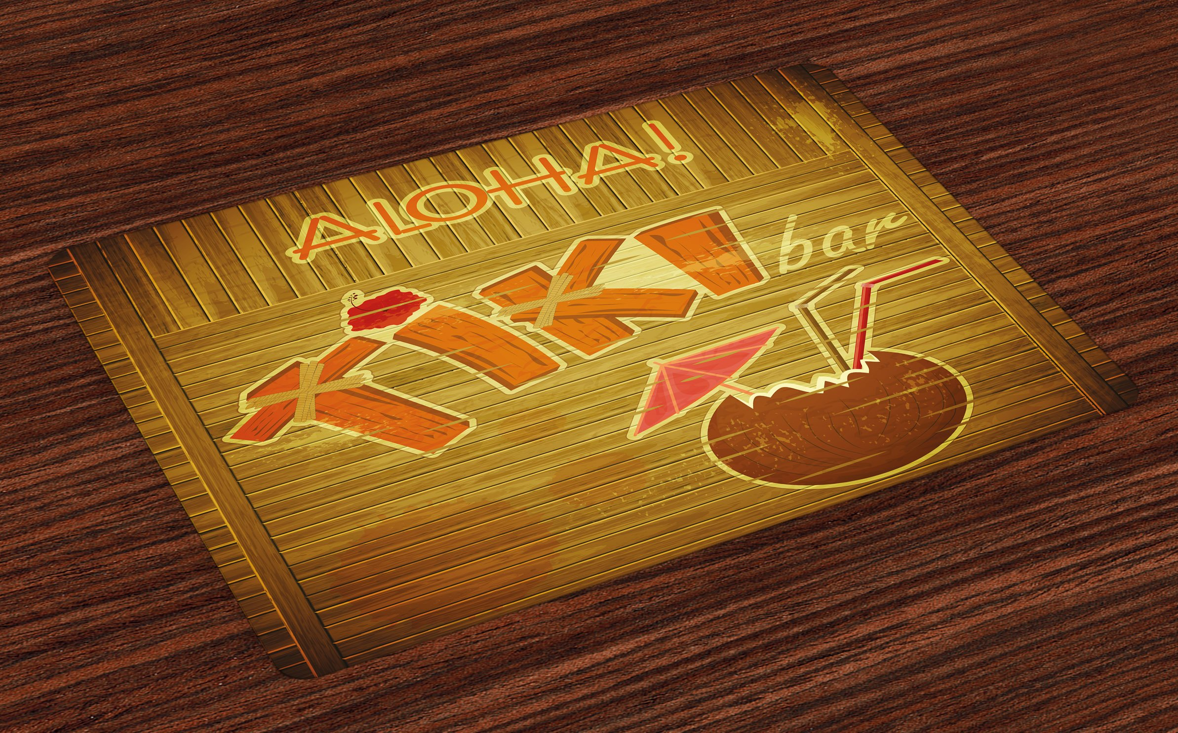 Ambesonne Tiki Bar Place Mats Set of 4, Wooden Planks on Wall with Styled Tiki Bar Text Cocktail Hibiscus Aloha, Washable Fabric Placemats for Dining Room Kitchen Table Decor, Brown Orange Pink