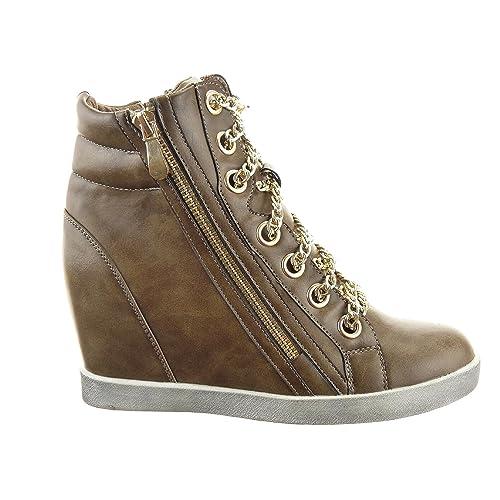 Sopily - Scarpe da Moda formatori zeppa Alti alla caviglia donna Catena Zip Tacco zeppa 9 CM - soletta tessuto - Nero kTHrUeW