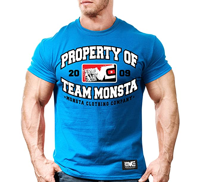 d75c57f0be47 Monsta Clothing Co. Mens Bodybuilding Workout (PropertyOfTeamMonsta) Gym  T-Shirt