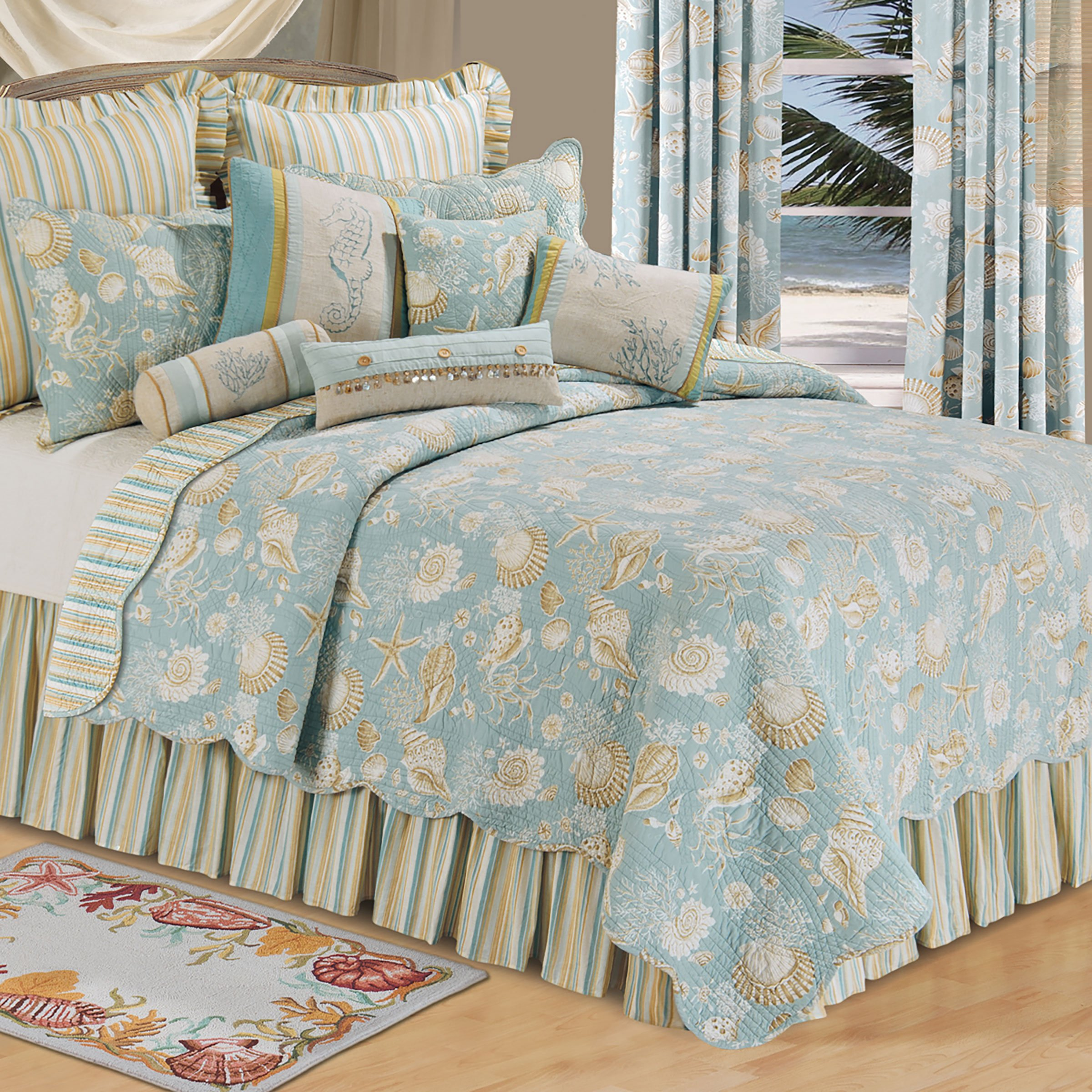 Cu0026F Home Natural Shells Full/Queen Quilt 90x92   Coastal Theme