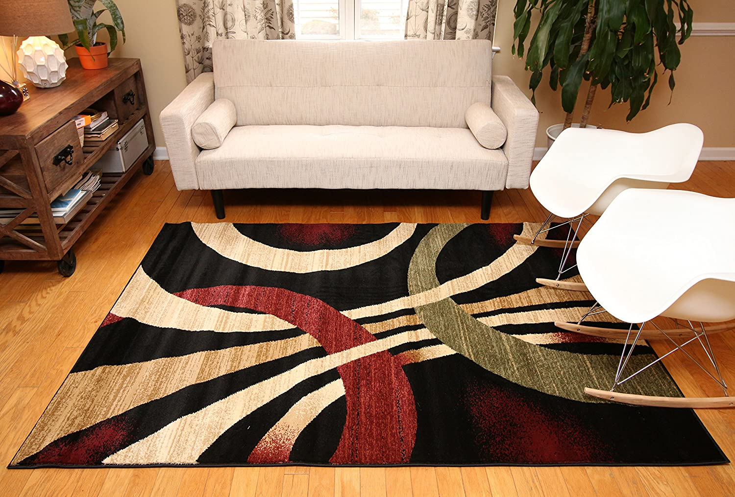 Amazon feraghan new city hil1030 contemporary modern wavy amazon feraghan new city hil1030 contemporary modern wavy circles area rug 5 x 8 feet brown and beige kitchen dining baanklon Gallery
