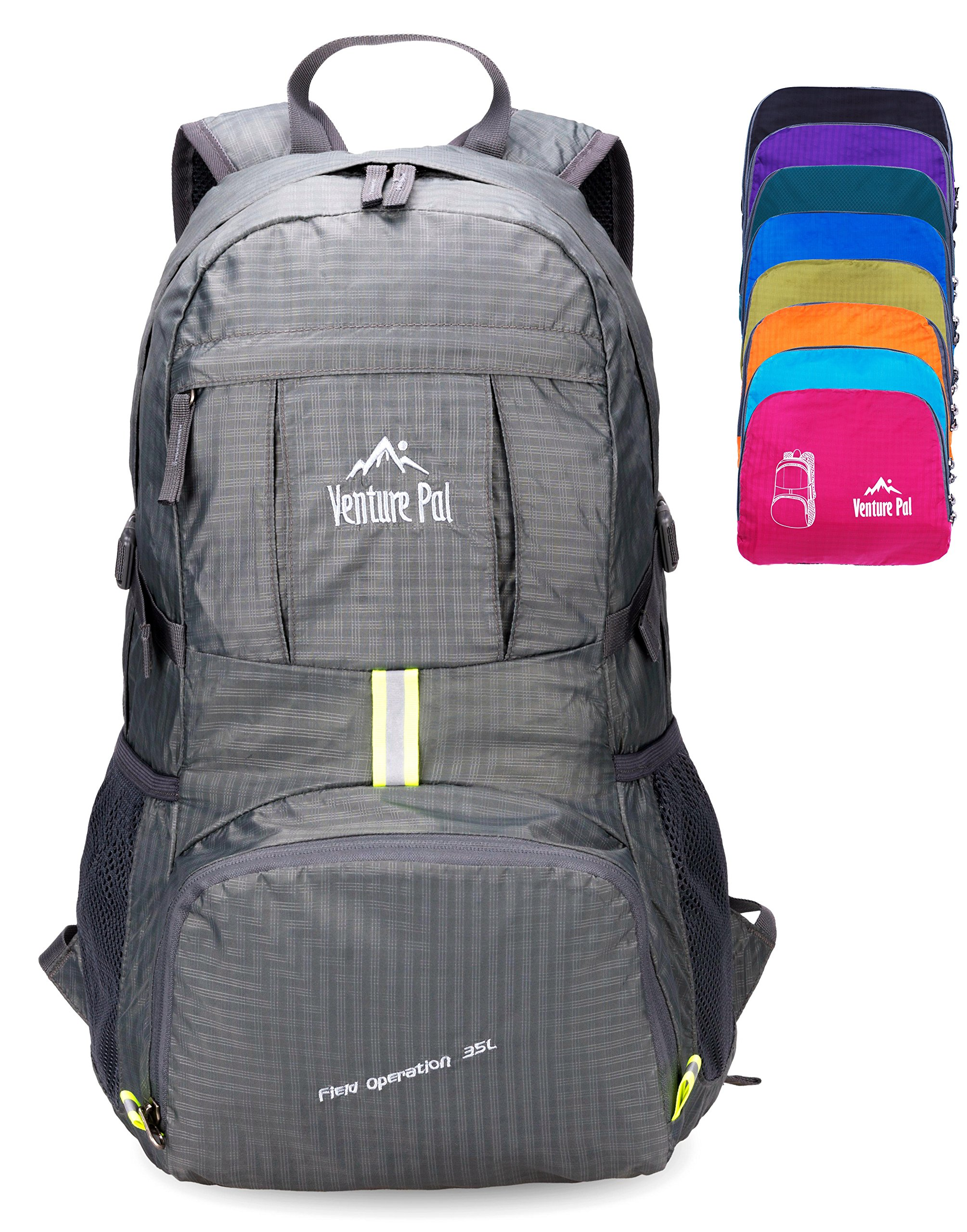 Venture Pal Lightweight Packable Durable Travel Hiking Backpack Daypack (Grey)