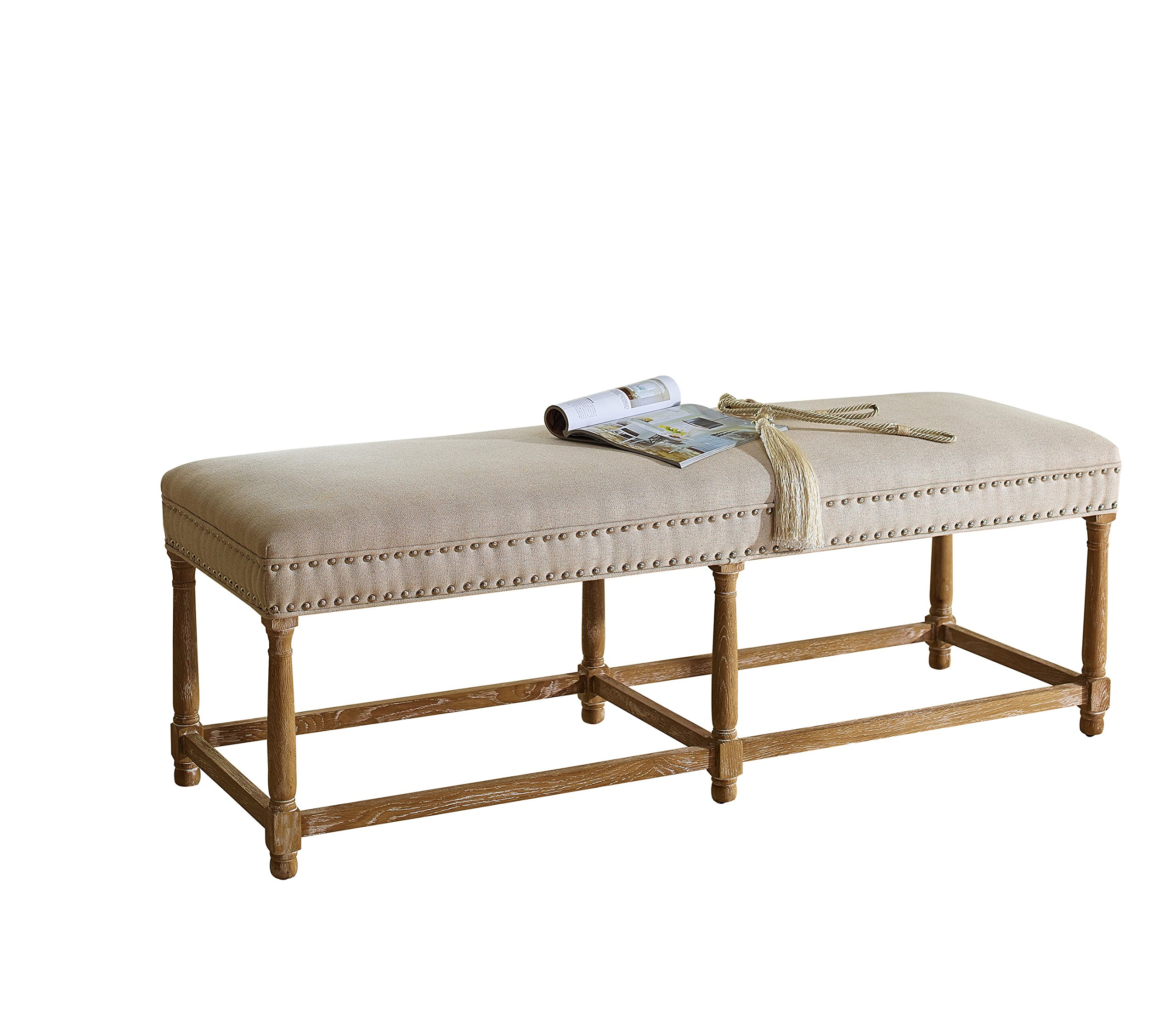 Baxton Studio Nathan Oak Wood and Beige Linen Modern Country Console Bench
