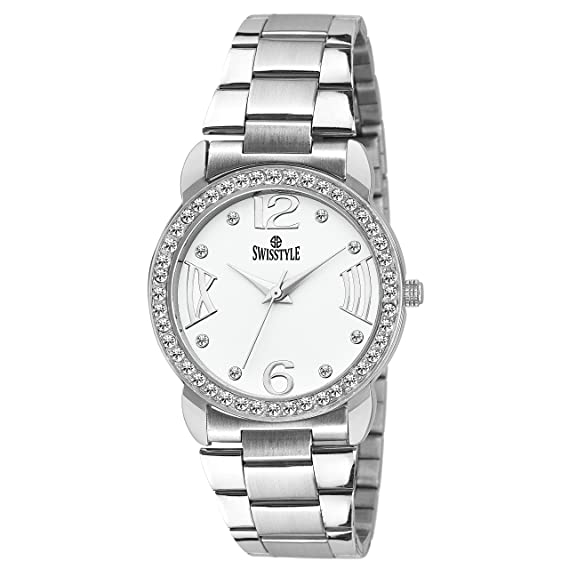 3df27d45e3c Buy Swisstyle Analogue White Dial Women s Watch - SS-LR098-WHT-CH Online at Low  Prices in India - Amazon.in