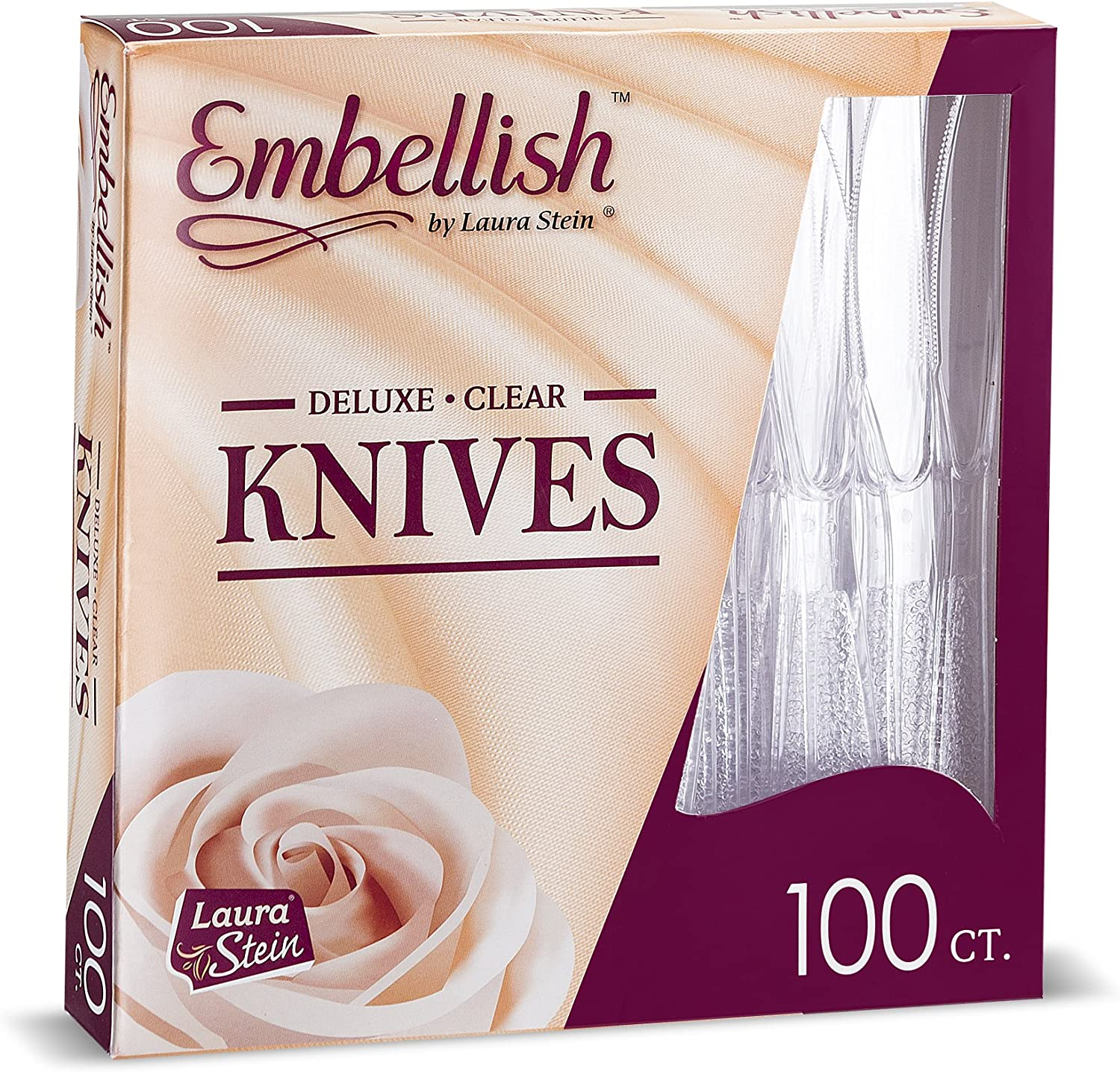 [100 Knives] Embellish Crystal Clear Disposable Heavy Duty Plastic Knife, Ideal For Wedding, Catering, Parties, Buffets, Events, Or Everyday Use,