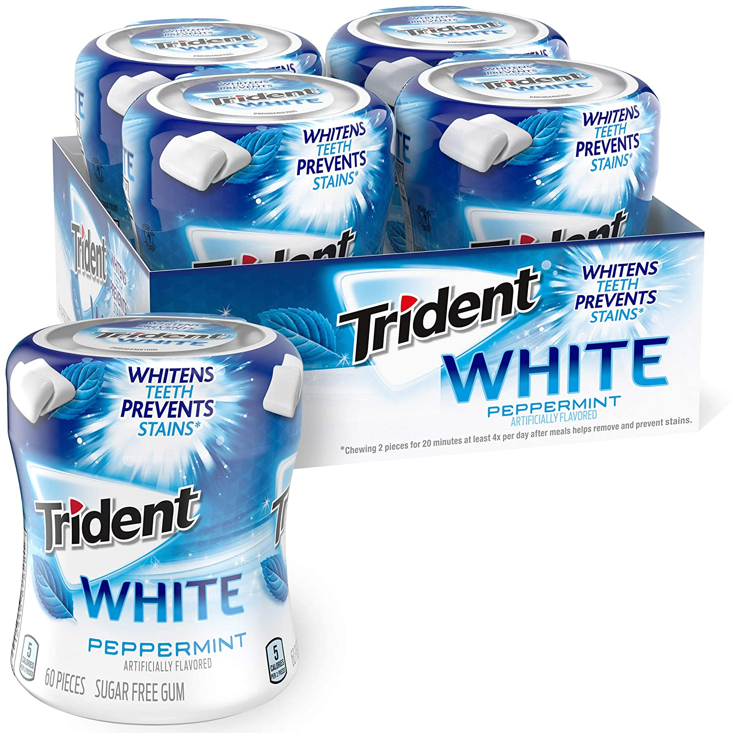 Trident White Peppermint Sugar Free Gum, 4 Bottles of 60 Pieces (240 Total Pieces)