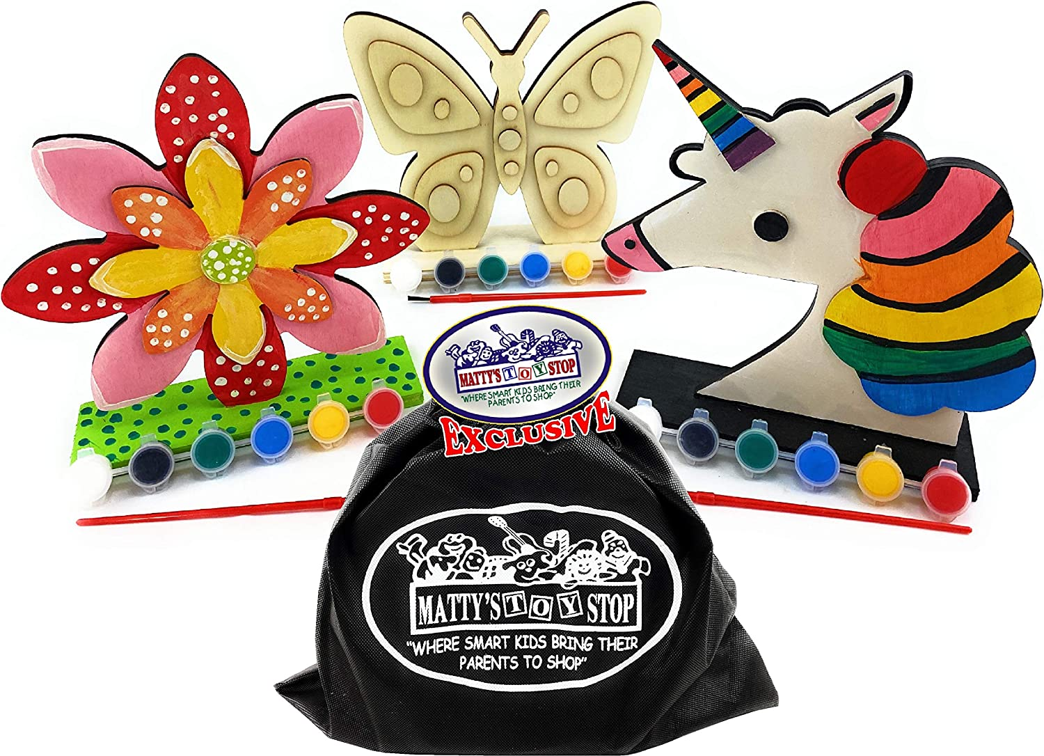 Mattys Toy Stop Deluxe Paint Your Own Stand-Up Wooden Unicorn Paint Brush /& Storage Bag Butterfly /& Flower Craft with Paint 3 Pack