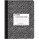 """Oxford Composition Notebook, College Ruled Paper, 9-3/4"""" x 7-1/2"""", Black Marble Covers, 100 Sheets, 1 Book (63796)"""