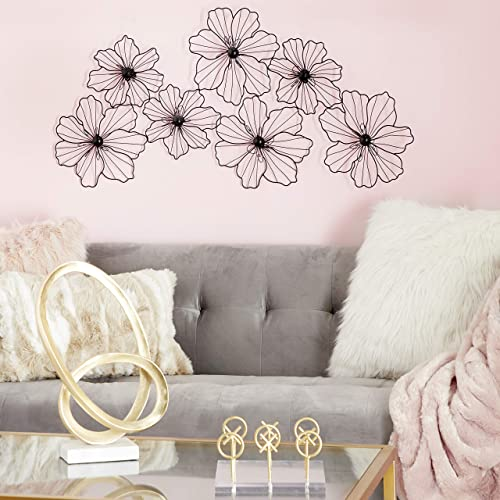 CosmoLiving by Cosmopolitan 58515 Large Modern Black Flower Sculpture Metal Wall Decor 43 x 21