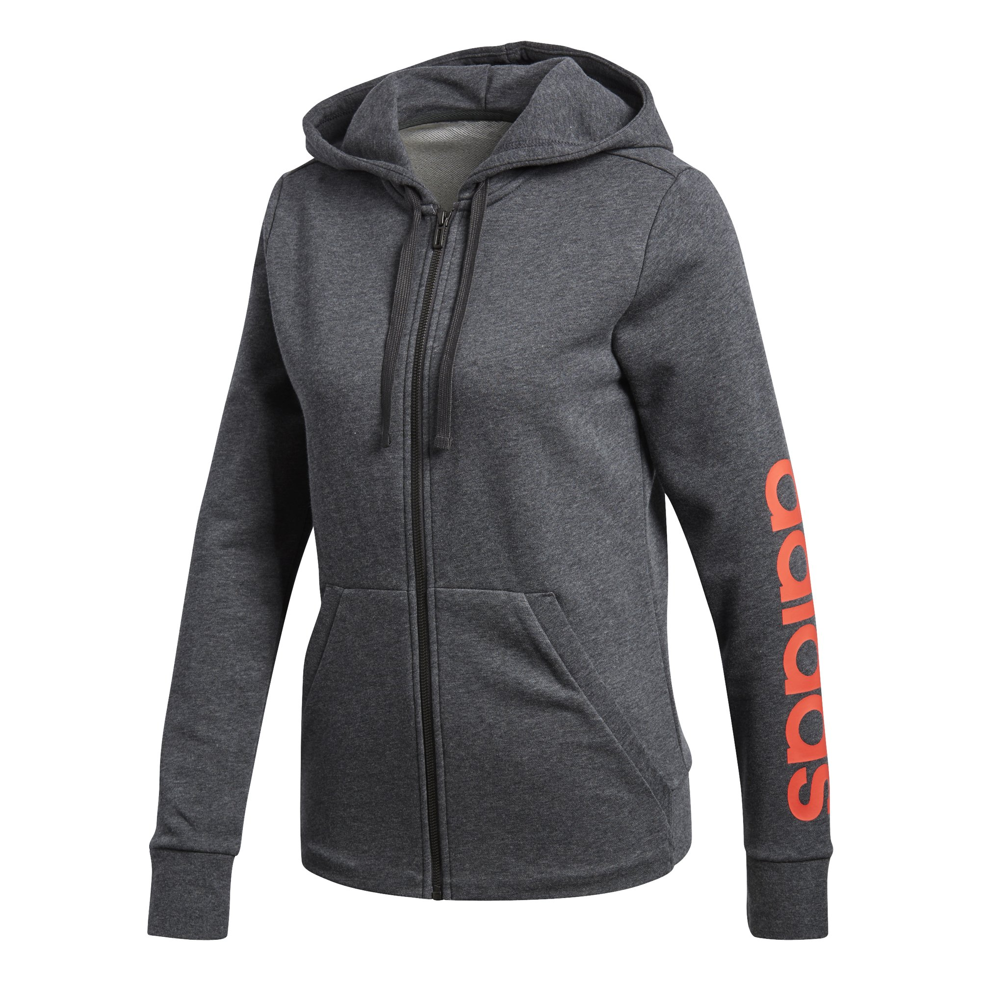 adidas Women's Essentials Linear Full Zip Fleece Hoodie, Dark Grey Heather/Real Coral, X-Small
