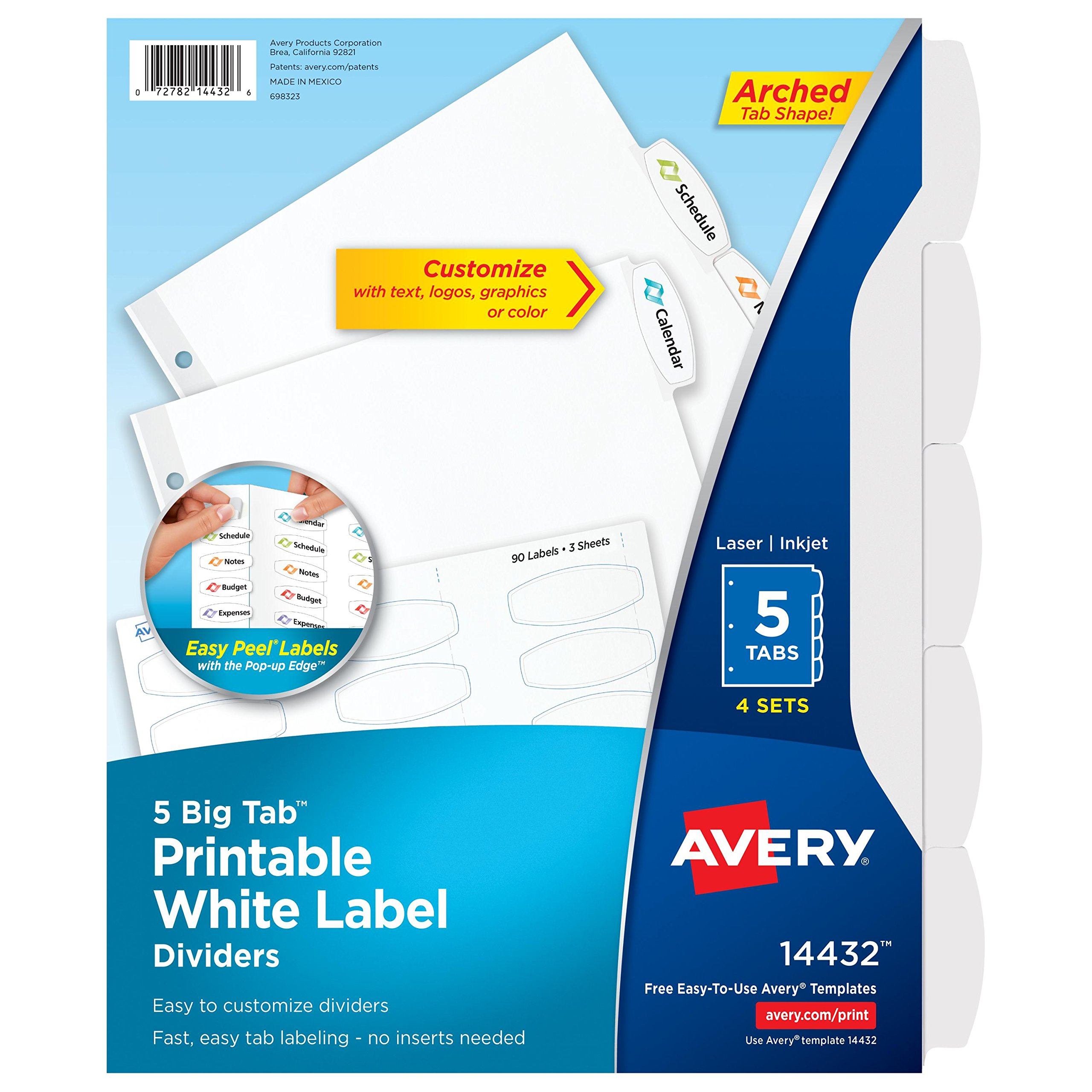 Avery Big Tab Printable White Label Dividers with Easy Peel, 5 Tabs, 4 Sets (14432) by Avery